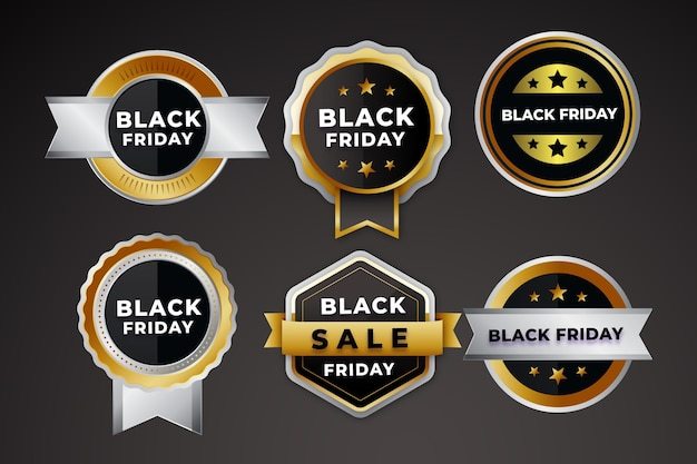 Coleção realista de emblemas de liquidação de sexta-feira negra