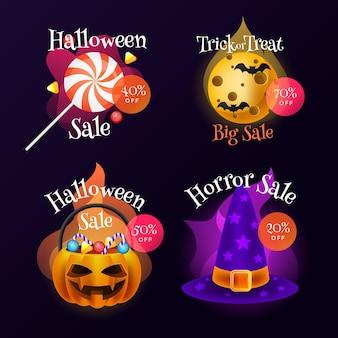 Coleção realista de emblemas de venda de halloween