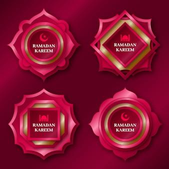 Coleção realista de emblemas do ramadã