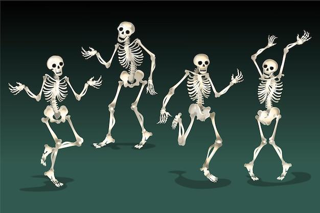 Coleção realista de esqueletos de halloween