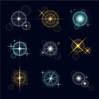 Coleção realista de estrelas cintilantes