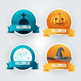 Coleção realista de etiquetas de liquidação de halloween