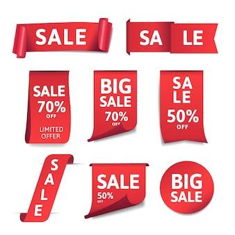 Coleção realista de etiquetas de vendas promocionais