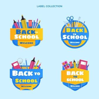 Coleção realista de etiquetas de volta às aulas