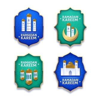 Coleção realista de etiquetas do ramadã