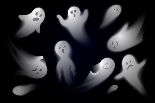 Coleção realista de fantasmas de halloween