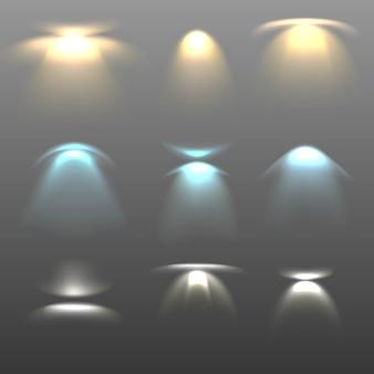 Coleção realista de focos de luz.