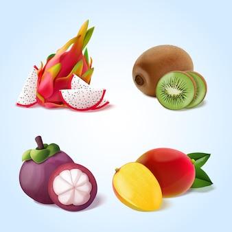 Coleção realista de frutas