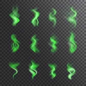 Coleção realista de fumaça verde