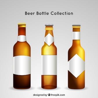 Coleção realista de garrafas de cerveja