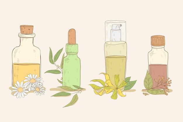 Coleção realista de garrafas de óleo essencial desenhada à mão