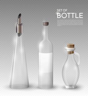 Coleção realista de garrafas de vidro vazias