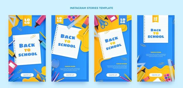 Coleção realista de histórias do instagram de volta às aulas