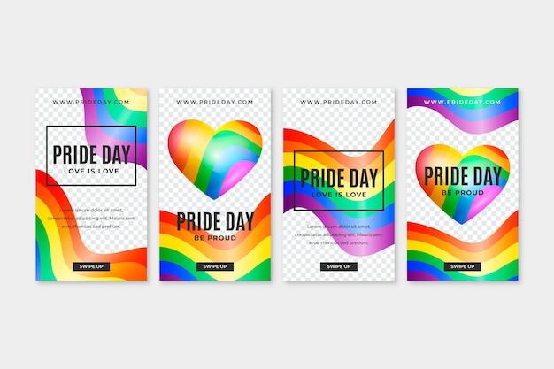 Coleção realista de histórias do instagram do dia do orgulho