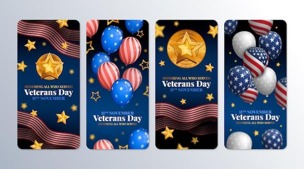 Coleção realista de histórias do instagram do dia do veterano