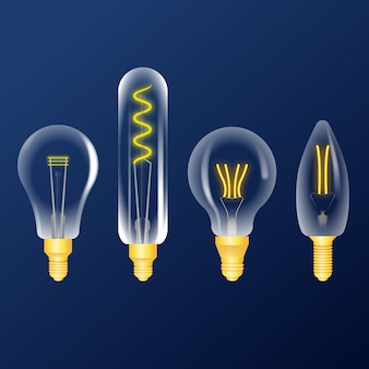 Coleção realista de lâmpadas