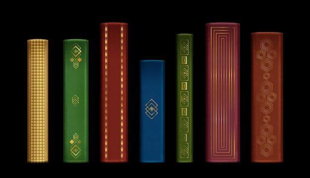 Coleção realista de livros e lombadas