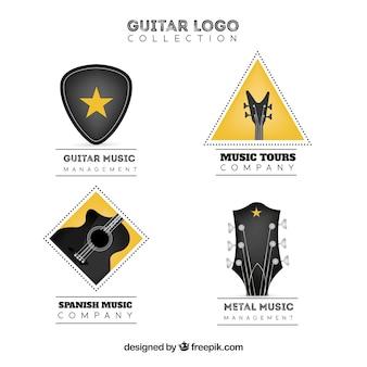 Coleção realista de logotipos de guitarra