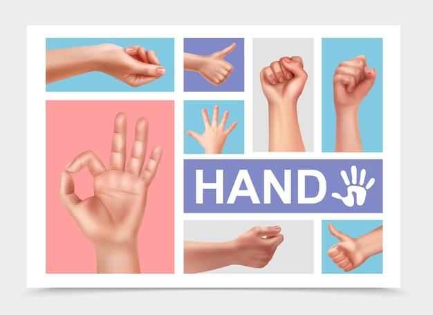 Coleção realista de mãos femininas com ok polegar para cima sinais punho de mulher e mão de criança