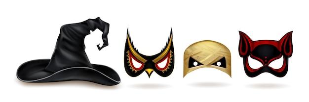 Coleção realista de máscaras de halloween