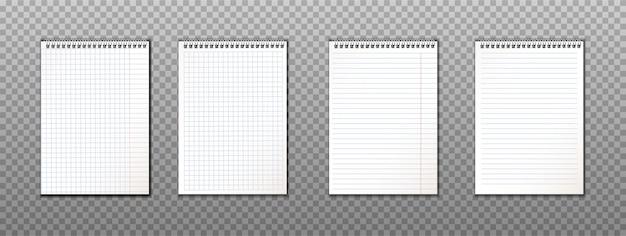 Coleção realista de notas de papel com espirais