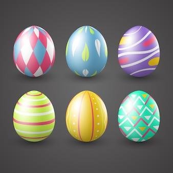 Coleção realista de ovos de dia de páscoa
