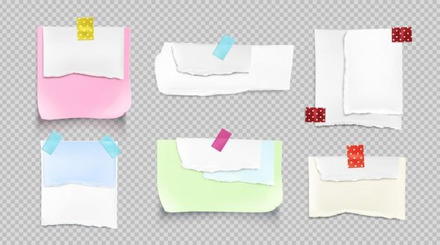 Coleção realista de papel rasgado
