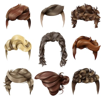Coleção realista de penteado masculino