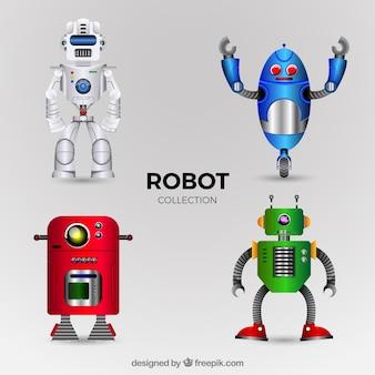 Coleção realista de personagens de robôs