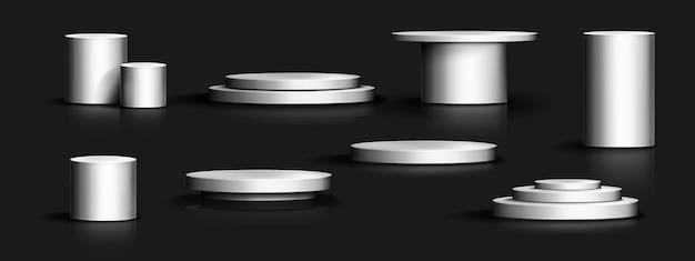 Coleção realista de pódio de prata