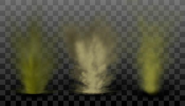 Coleção realista de poeira e fumaça ou explosão de nevoeiro em fundo transparente, nevoeiro fedorento, poluição do ar, meio ambiente.