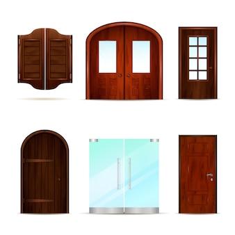 Coleção realista de portas da frente