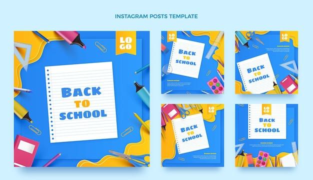 Coleção realista de postagens do instagram de volta às aulas
