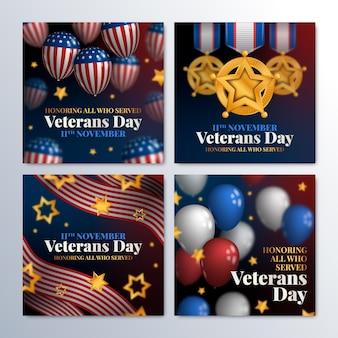 Coleção realista de postagens do instagram do dia do veterano