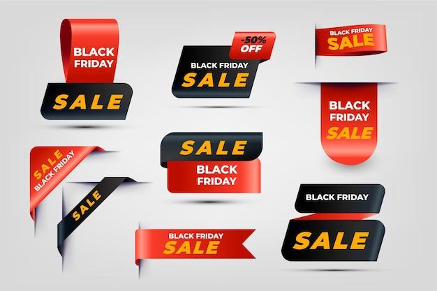 Coleção realista de rótulos de liquidação de sexta-feira negra Vetor Premium