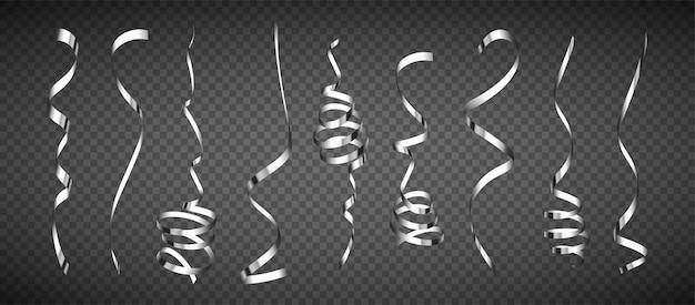 Coleção realista de serpentina de prata