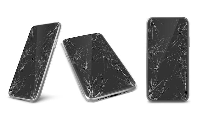 Coleção realista de smartphones com vidros quebrados