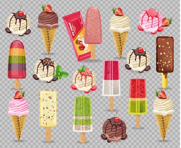 Coleção realista de sorvete