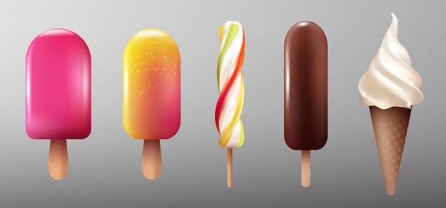 Coleção realista de sorvetes