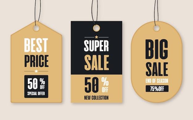 Coleção realista de tags de venda