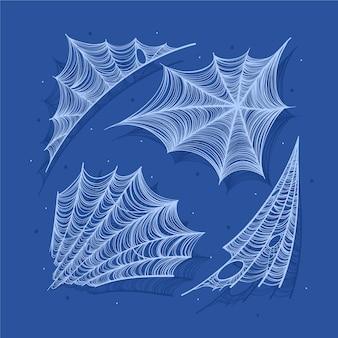 Coleção realista de teias de aranha de halloween