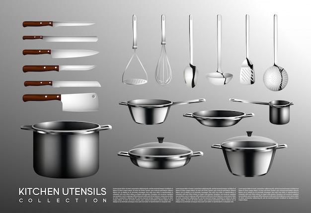 Coleção realista de utensílios de cozinha