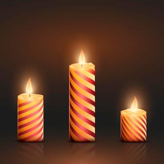 Coleção realista de velas de natal