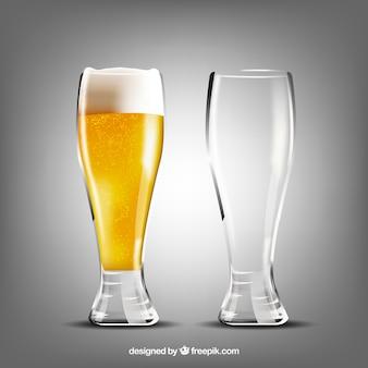 Coleção realista de vidro e caneca de cerveja