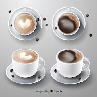 Coleção realista de xícara de café