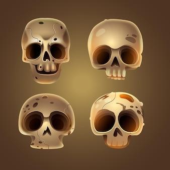 Coleção realista dia de muertos do crânio