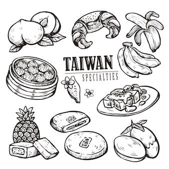 Coleção requintada de especialidades de taiwan em estilo desenhado à mão