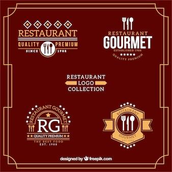 Coleção restaurante logotipo no design plano