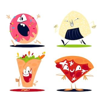 Coleção retro de adesivos de comida de desenho animado