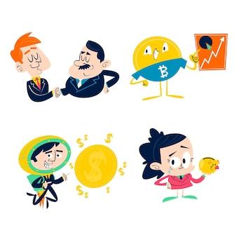Coleção retro de adesivos de negócios de desenho animado